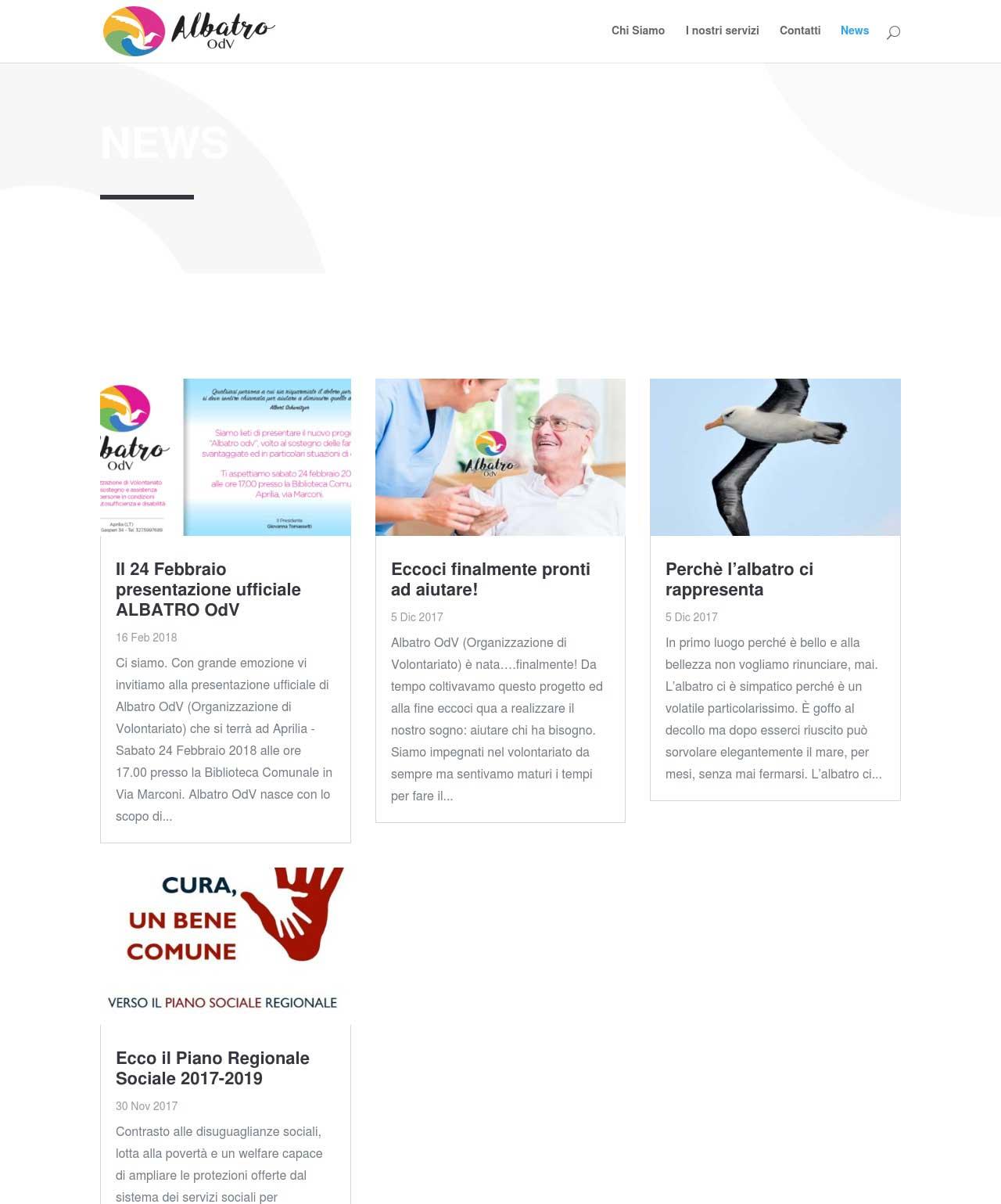 Portfolio: il sito di Albatro ODV, sezione NEWS
