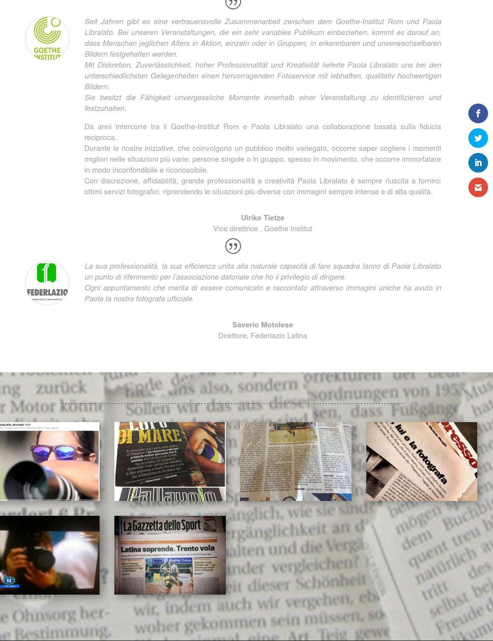 Portfolio: il sito di Paola Libralato, Dettaglio Dicono di me