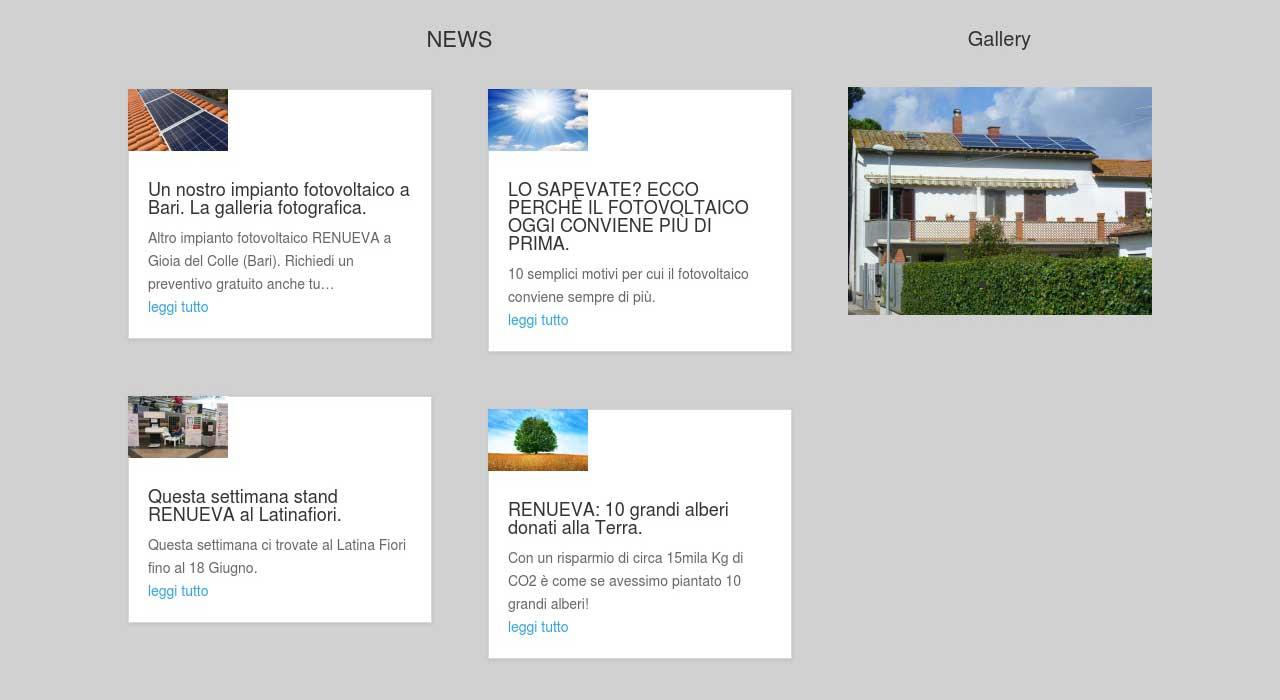 Portfolio: il sito di renueva, sezione News