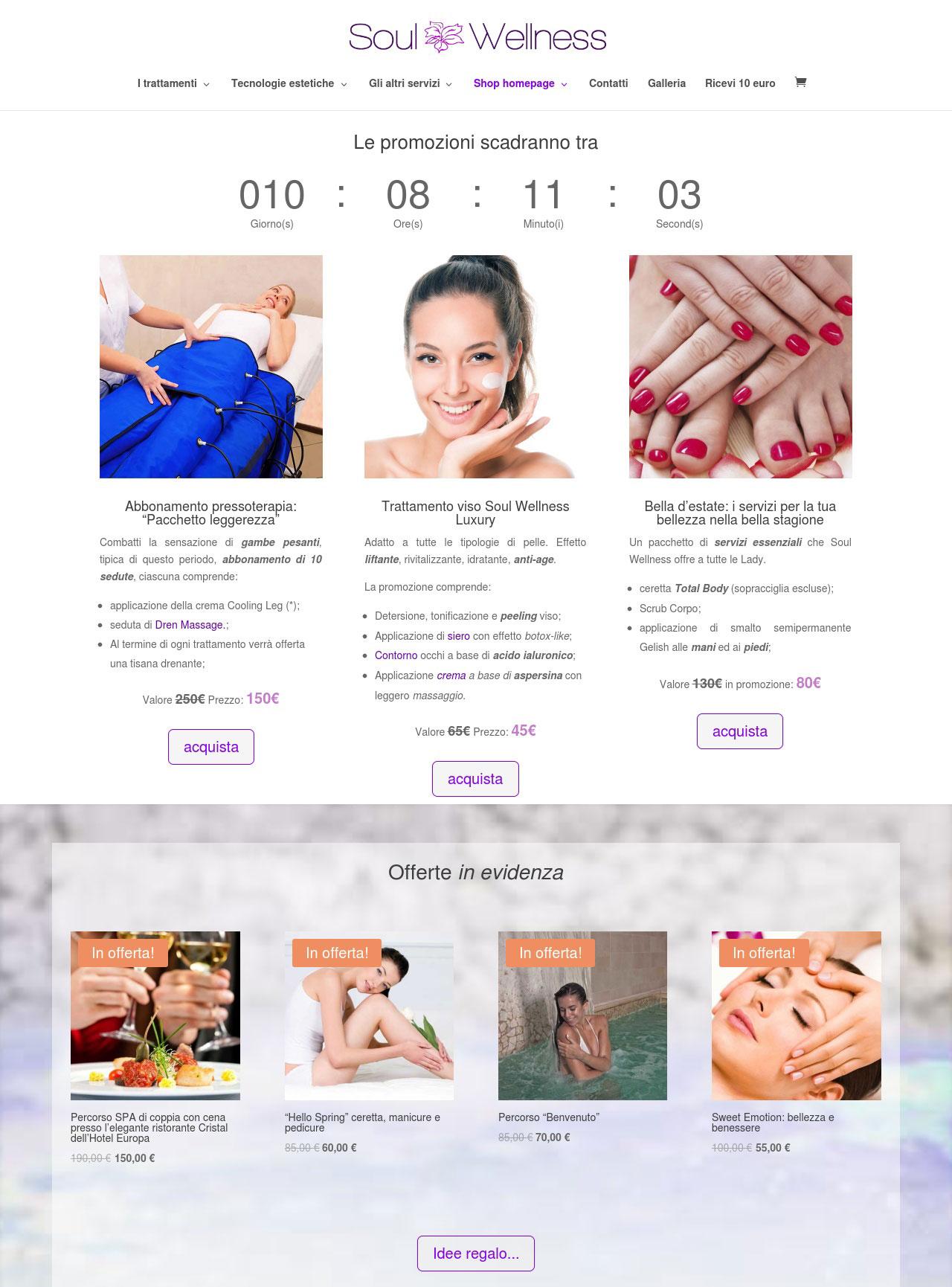 Portfolio: il sito di Soul Wellness, sezione shop